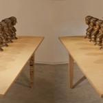 """Battle of Conception, Bronze, wooden table 32pieces, each sculpture : 13"""" x 5.9"""" x 6.3"""" ( 33x15x16cm) table 78.7"""" x 78.7"""" (200 x 200 x 100cm) 2010"""
